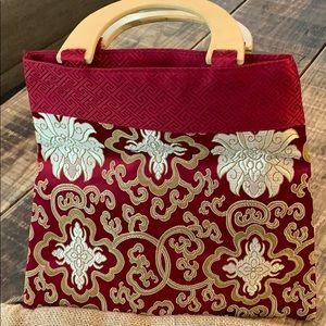 Handbags - Asian silk tote with plastic (faux wood) handles